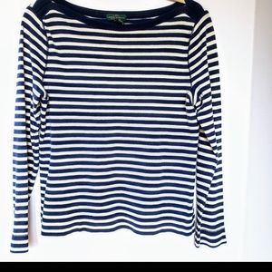 RALPH LAUREN  Blue and Tan Striped Thermal Top LG